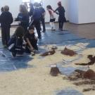 Maquete Gigante sobre o Mapa Físico do Mundo