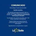 COMUNICADO IMPORTANTE - SUSPENSÃO DAS AULAS