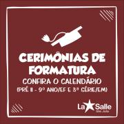 Calendário das Solenidades de Formaturas 2019