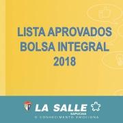 Lista Aprovados - Bolsa Integral 2018
