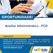 Oportunidade de Trabalho - Apoio Administrativo-PCD
