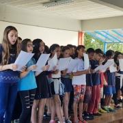 Coral do 5º ano apresentou-se na reflexão semanal