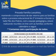 CRONOGRAMA DE REUNIÕES DE PAIS 2° TRIMESTRE