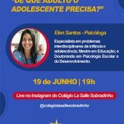 Colégio promove Live sobre Desafios da Adolescência