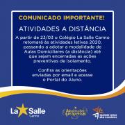COMUNICADO IMPORTANTE - ATIVIDADES A DISTÂNCIA