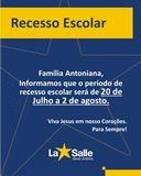 COMUNICADO: RECESSO ESCOLAR