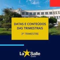 Conteúdos e Datas: Provas Trimestrais - 3º Trimestre
