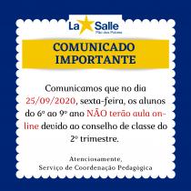 COMUNICADO AOS PAIS E ALUNOS DO 6° AO 9°ANO